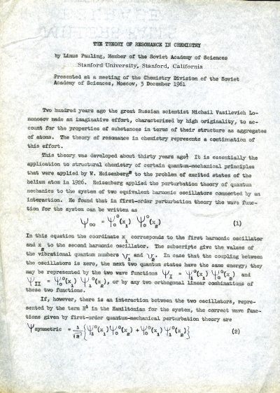 """The Theory of Resonance in Chemistry."" Page 1. December 3, 1961"