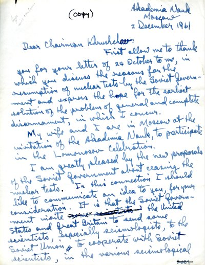 Letter from Linus Pauling to Nikita Khrushchev. Page 1. December 2, 1961