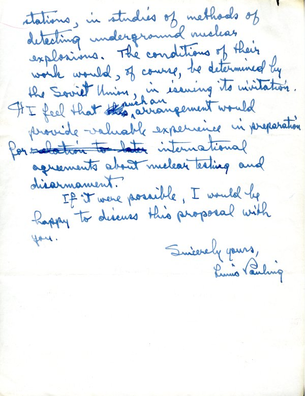 Letter from Linus Pauling to Nikita Khrushchev. Page 2. December 2, 1961