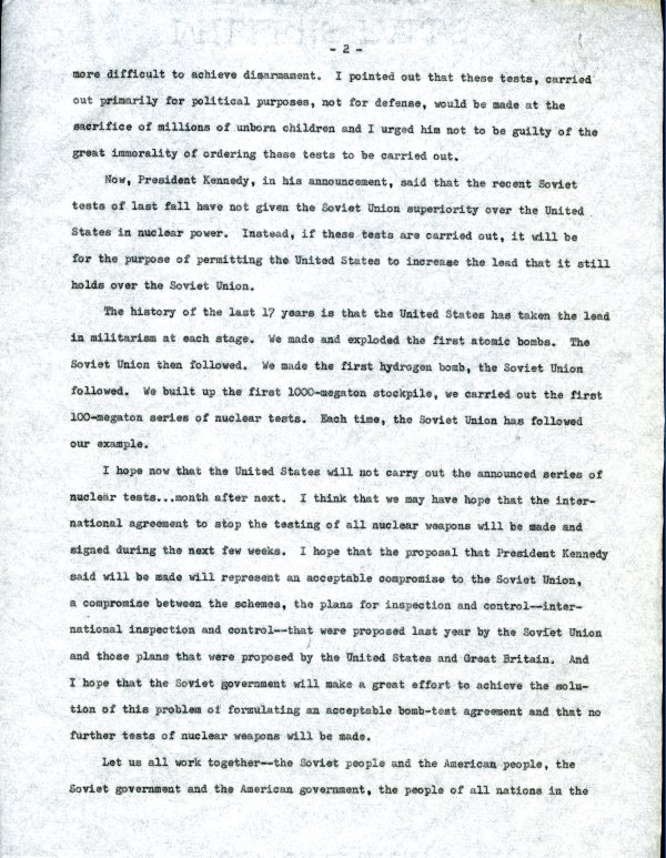 """""""Linus Pauling.""""Page 2. March 8, 1962"""