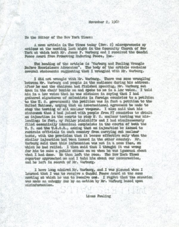 Letter to the Editor of the New York Times re: conflict at the Gandhi Peace Award event.Page 1. November 2, 1962