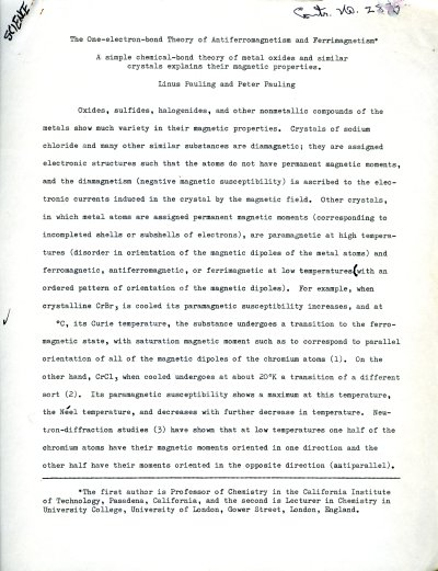 """The One-electron-bond Theory of Antiferromagnetism and Ferrimagnetism."" Page 1. June 24, 1962"
