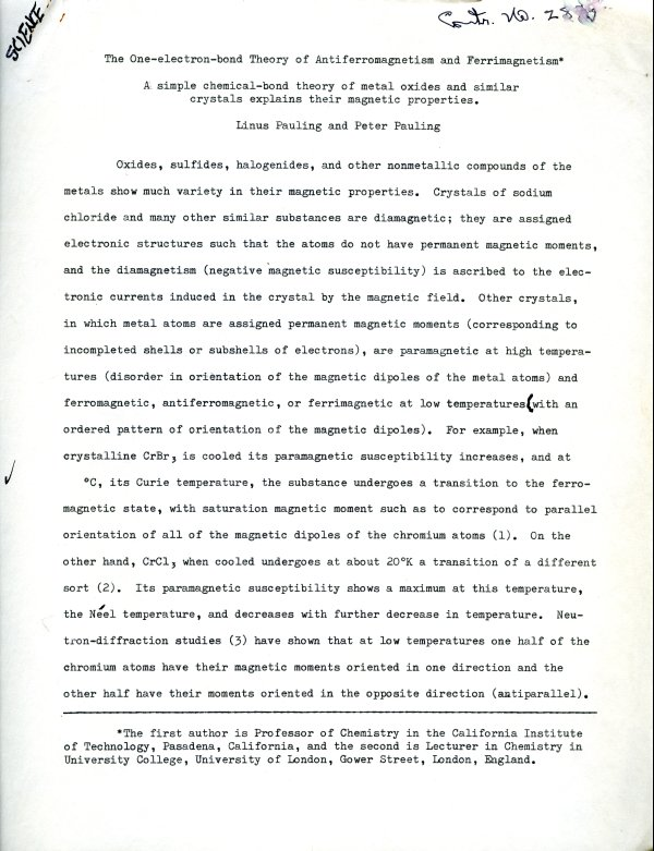 """""""The One-electron-bond Theory of Antiferromagnetism and Ferrimagnetism.""""Page 1. June 24, 1962"""