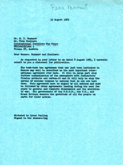 Letter from Linus Pauling to N. I. Bazanov and Yves Choliere. Page 1. August 15, 1963