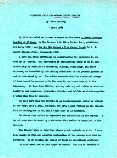 Statement About the Gerson Cancer Therapy Page 1. April 7, 1963