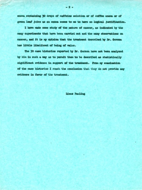 Statement About the Gerson Cancer Therapy Page 2. April 7, 1963