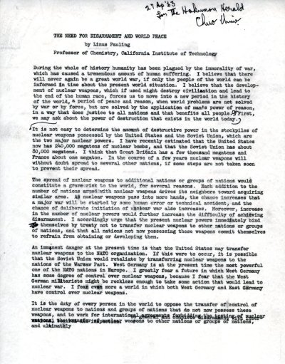 The Need for Disarmament and World PeacePage 1. April 27, 1963