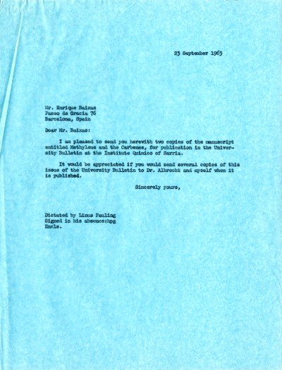 Letter from Linus Pauling to Enrique BaixasPage 1. September 23, 1963