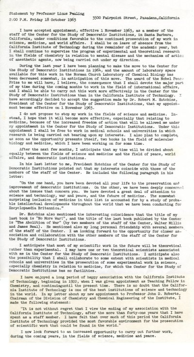 """""""Statement by Professor Linus Pauling.""""Page 1. October 18, 1963"""