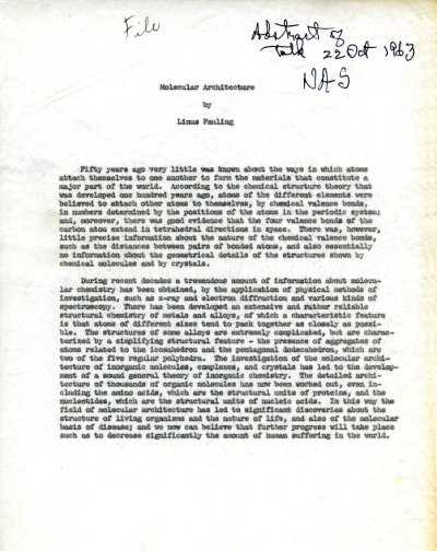 """""""Molecular Architecture.""""Page 1. October 22, 1963"""