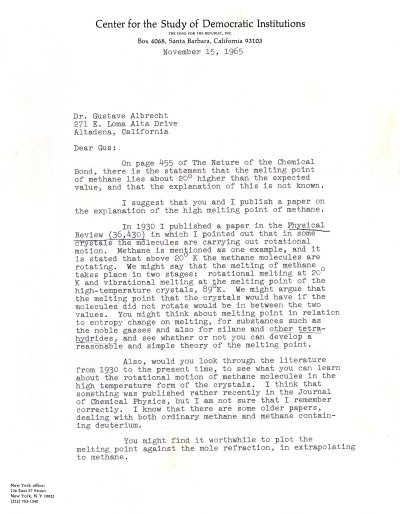 Letter from Linus Pauling to Gustav Albrecht. Page 1. November 15, 1965