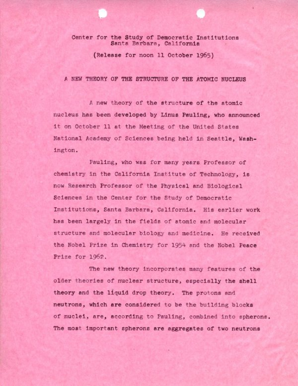 """""""A New Theory of the Structure of the Atomic Nucleus.""""Page 1. October 11, 1965"""