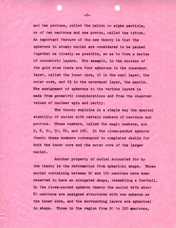 """""""A New Theory of the Structure of the Atomic Nucleus.""""Page 2. October 11, 1965"""