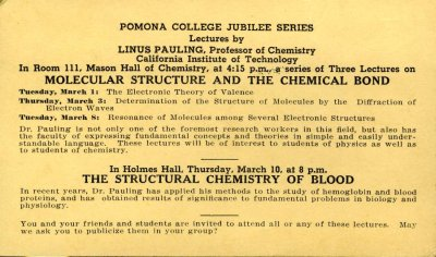 "Lectures on ""Molecular Structure and the Chemical Bond"" and ""The Structural Chemistry of Blood"" . March 1 - 10, 1938"