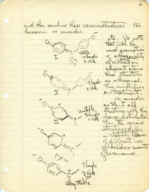 """Theory of Color of Organic Substances"" Page 4. June 26, 1939"