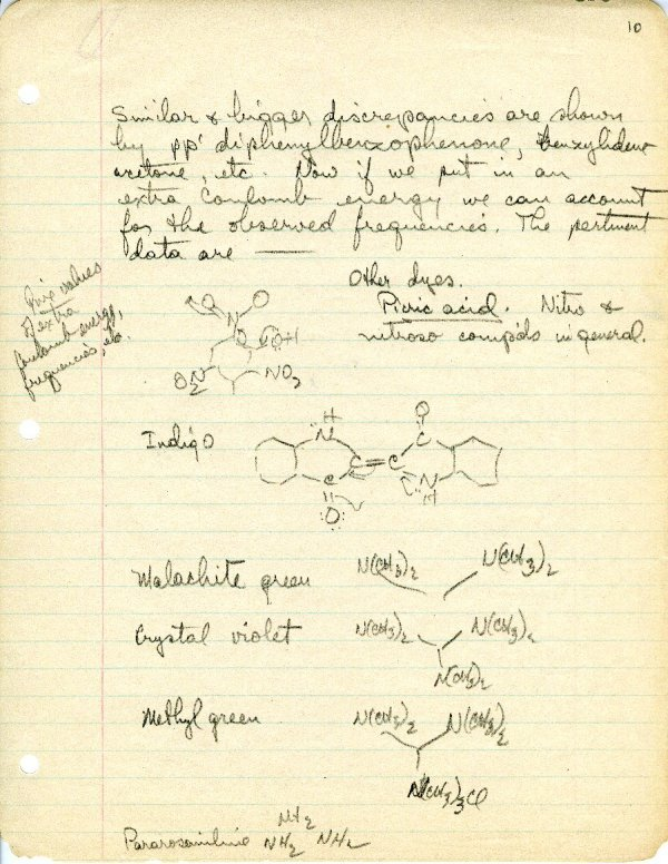 """Theory of Color of Organic Substances"" Page 10. June 26, 1939"
