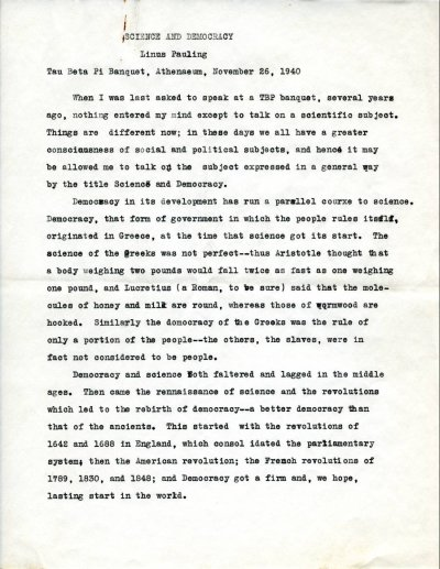 """""""Science and Democracy.""""Typescript - Page 1. November 26, 1940"""