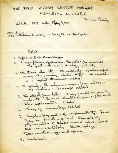 No Title [re: structural chemistry and methods of investigation, including electron microscopy and x-ray crystallography].Page 1. May 9, 1941