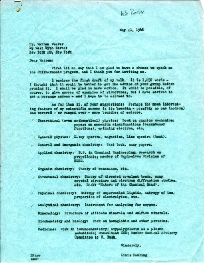 Letter from Linus Pauling to Warren Weaver. Page 1. May 21, 1946
