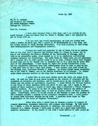 Letter from Linus Pauling to M.H. Arveson. Page 1. March 29, 1946