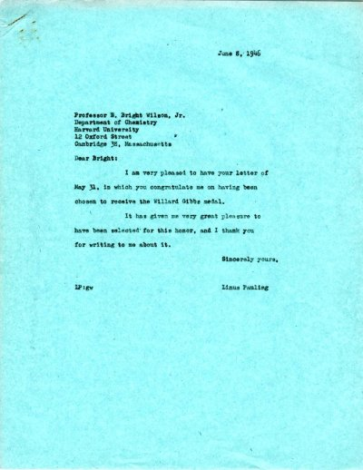 Letter from Linus Pauling to E. Bright Wilson, Jr. Page 1. June 8, 1946