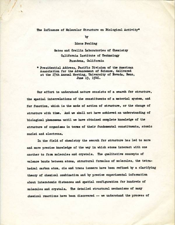 """The Influence of Molecular Structure on Biological Activity."" Page 1. June 19, 1946"