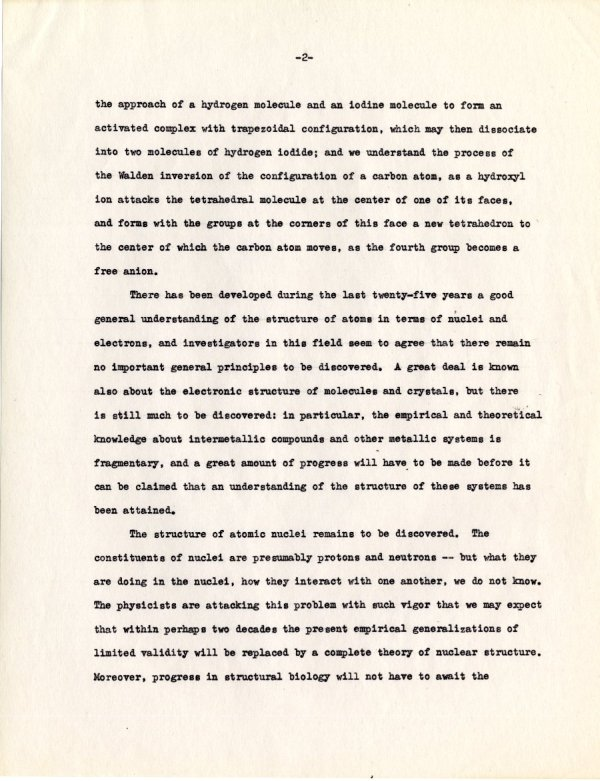 """The Influence of Molecular Structure on Biological Activity."" Page 2. June 19, 1946"