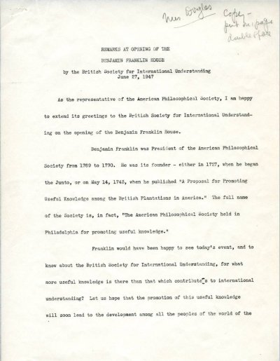 """Remarks at Opening of the Benjamin Franklin House."" Page 1. June 27, 1947"