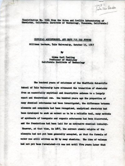 """""""Chemical Achievement, and Hope for the Future.""""Page 1. October 15, 1947"""