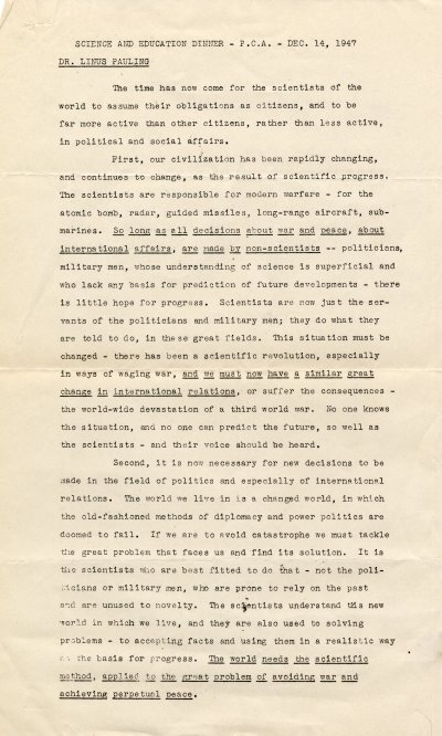 No Title [re: social activism by scientists]. Page 1. December 14, 1947