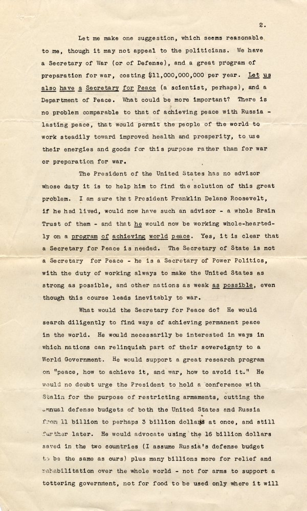 No Title [re: social activism by scientists]. Page 2. December 14, 1947