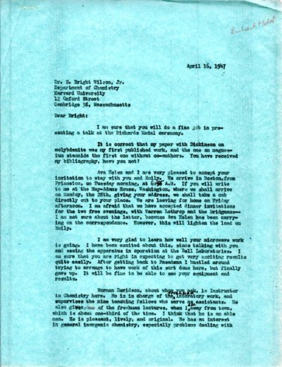 Letter from Linus Pauling to E. Bright Wilson, Jr. Page 1. April 16, 1947
