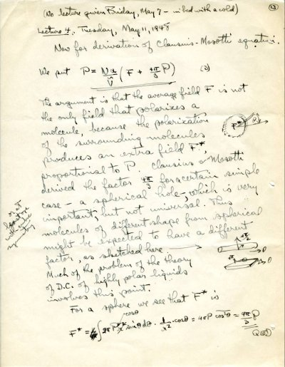 "No Title [""derivation of Clausius-Mosotti equation""]. Page 13. May 11, 1948"