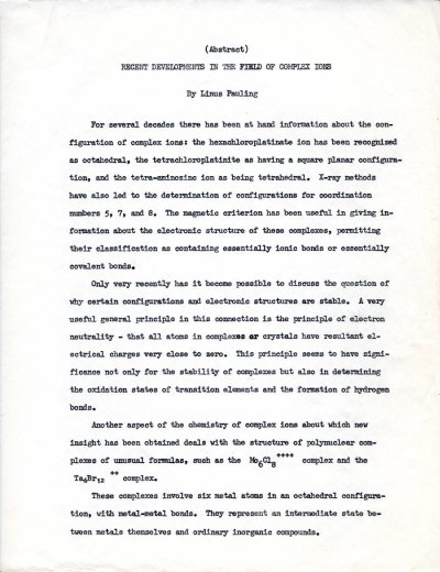 """Recent Developments in the Field of Complex Ions."" Page 1. December 6, 1949"
