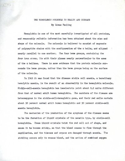 """""""The Hemoglobin Molecule in Health and Disease.""""Page 1. April 19, 1951"""