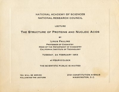 February 25 1953 linus pauling day by day special collections the structure of proteins and nucleic acids invitation february 24 1953 stopboris Choice Image