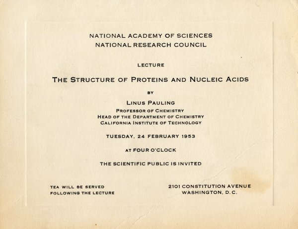 February 26 1953 large image linus pauling day by day special the structure of proteins and nucleic acids invitation february 24 1953 stopboris Image collections