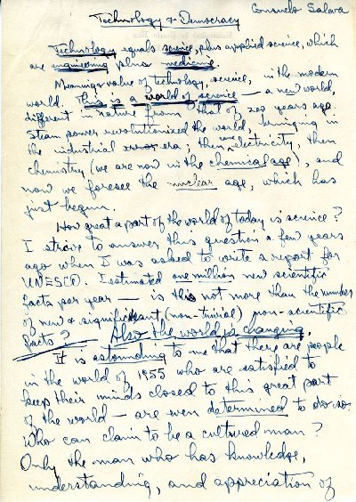 """Technology and Democracy."" Manuscript - Page 1. May 3, 1955"