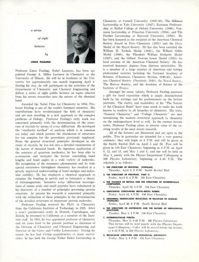 Flyer: George A. Miller Lectureship, University of Illinois, Champaign, Illinois. Page 1. April 5 - May 4, 1956