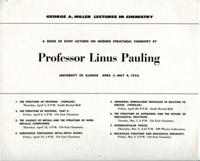 Flyer: George A. Miller Lectureship, University of Illinois, Champaign, Illinois. Page 2. April 5 - May 4, 1956