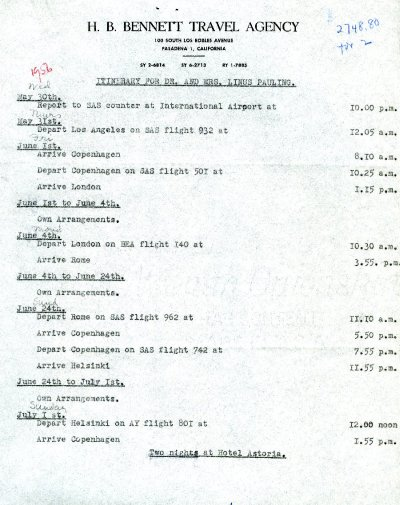 Itinerary for a trip to Europe. Page 1. May 30 - June 4, 1956