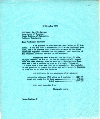 Letter from Linus Pauling to Carl M. Stevens. Page 1. November 30, 1956