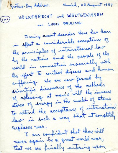 """""""Völkerrecht und Weltgewissen.""""Page 1. August 28, 1957"""