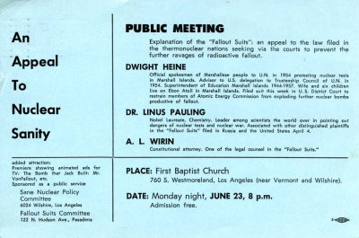 Flyer for a presentation on nuclear proliferation and fallout. Page 1. June 23, 1958