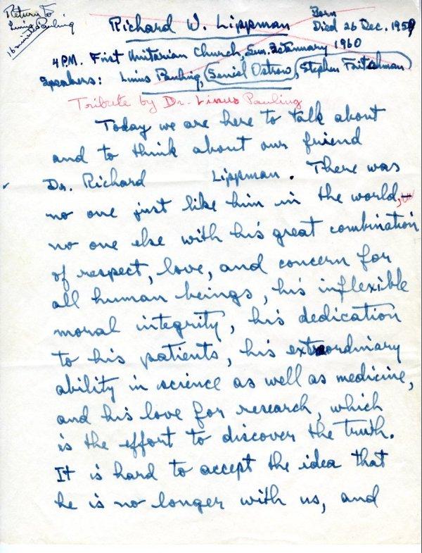 """""""Richard W. Lippman.""""Page 1. January 3, 1960"""