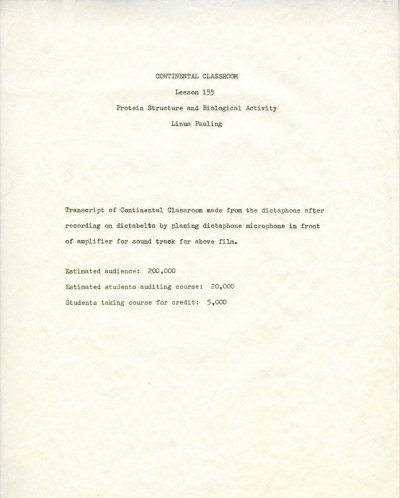 """Protein Structure and Biological Activity."" Title Page. May 20, 1960"