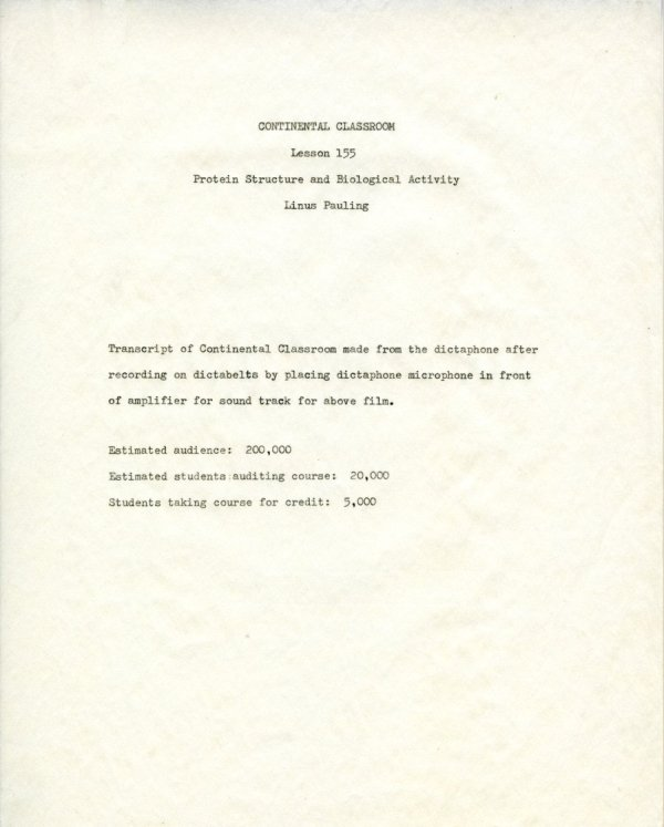 """""""Protein Structure and Biological Activity.""""Title Page. May 20, 1960"""