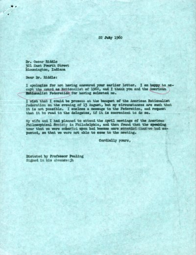 Letter from Linus Pauling to Oscar Riddle.Page 1. July 22, 1960