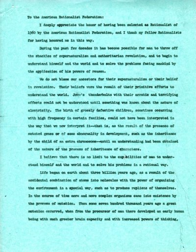 No Title. [re: humanism and nuclear policy] Page 1. August 13, 1960