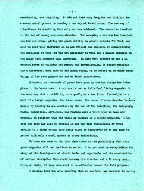 No Title. [re: humanism and nuclear policy] Page 2. August 13, 1960